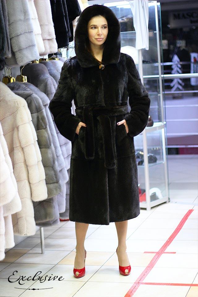 Черная норковая шуба из канадской норки блэкглама от Exclusive Furs