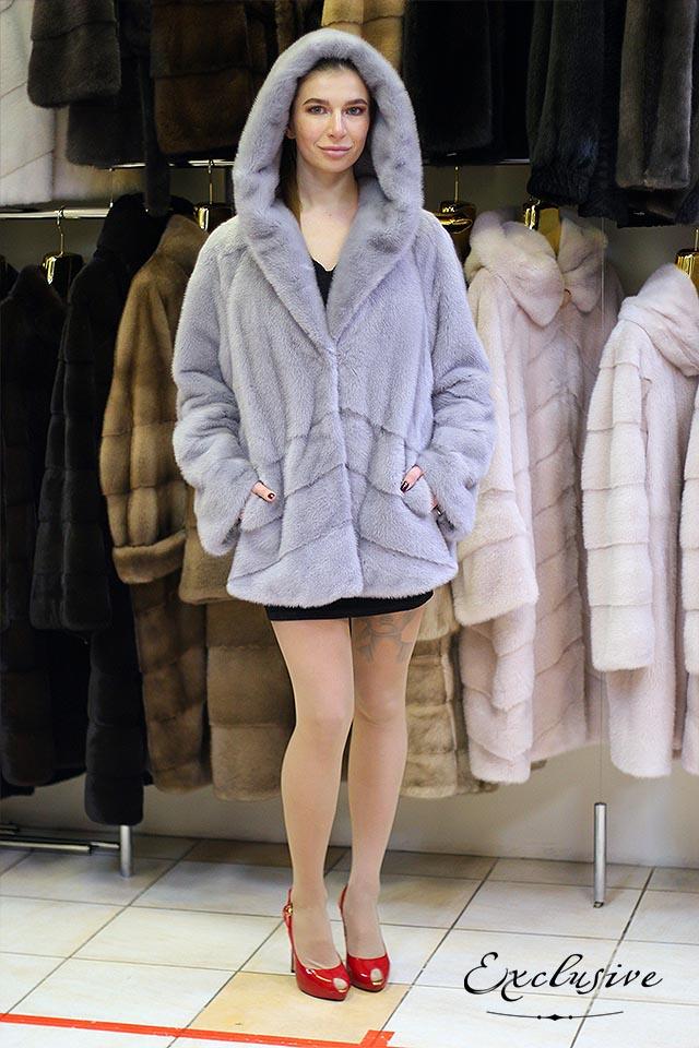 Норковая шуба сапфир с капюшоном от Exclusive Furs в Киеве